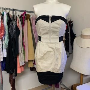 NEW! H&M Tube Tan Black Dress Sz 2